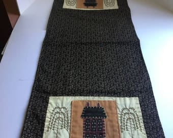 Primitive Table Runner  37 X 14.  A Vintage Item In Browns.  All Hand Done.  Primitive Linens.  Country Decor.   (Free Shipping In US Only)