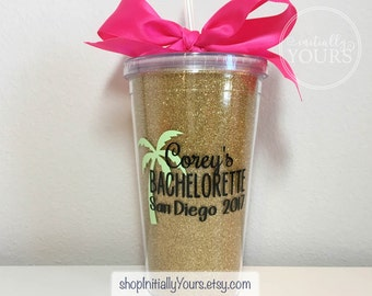 Customized Bachelorette Party Glitter Cups, Personalized Party Tumblers, Beach Bachelorette, Palm Tree Cups, Palm Springs, Custom Hashtag