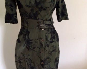 Vintage Military Dress, Khaki Wiggle Dress, Quirky, Army Dress