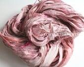 Sari Silk Shabby Vintage Bunny, Pale Pinks and Dogwood Hues, 5 Yards, Fair Trade, Ribbon, Silk, Silk Fabric, Textile, Artwear Elements, #87b