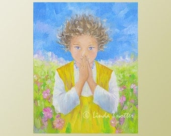 Child's Portrait, Portrait young boy, Angel painting, Guardian angel, Oil Painting, Original artwork, Gift for her, Nursery Décor, Zen art
