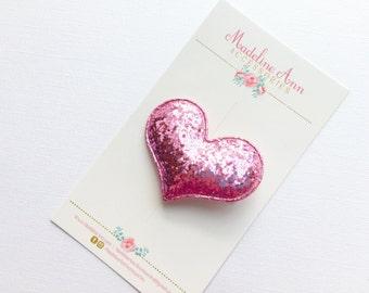 Valentines Hair Clip, Girls Glitter Heart Hair Clips, Sparkly Hair Clips, No-Slip Hair Clips, Toddler Hair Clips Valentines, Girls Gifts