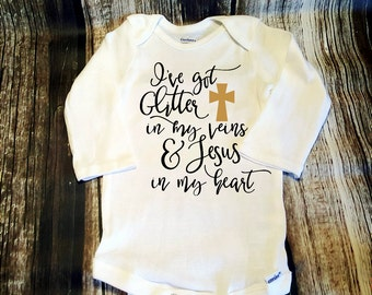 Baby Onsie Bodysuit Glitter in Veins Jesus in Heart