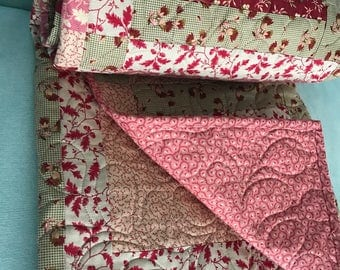 Sweet pink and brown tan quilt. Soft. Cuddly quilt perfect size for baby, wheelchair, or small throw  civil war reproduction fabric