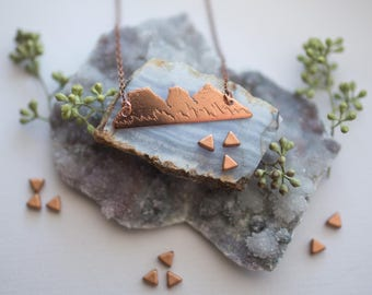 Handmade Copper Three Sisters Mountain Range Etched with Snow Capped Peaks Canmore Alberta