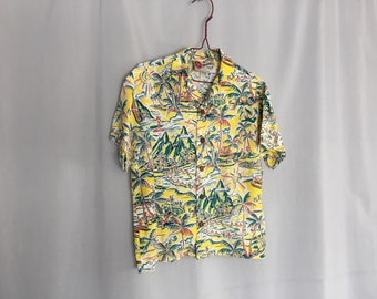 Boys Hawaiian Shirt Vintage Made in Hawaii Yellow White Green Surf Volcano Kids Luau