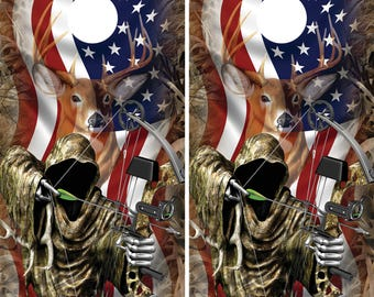 bow hunter with grass camo deer head faded over american flag cornhole board wrapsskins - Cornhole Board Wraps