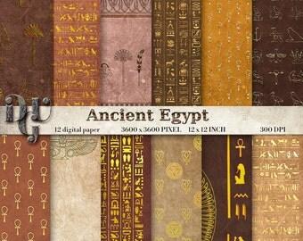 ANCIENT EGYPT Digital Paper Original Golden Egyptian Digital Paper, Hieroglyphics Digital Paper Pack Vintage Antique Egypt Patterns Des. 131