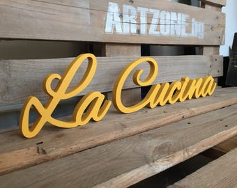 Yellow Cursive La Cucina sign - La Cucina Italian word for the kitchen - Cottage Chic decoration, wood sign wall decor, Kitchen Sign