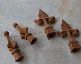 Vintage Reproduction Cast Iron Finials, Architectural Hardware, Shabby Chic, Replacement Parts, Fence Post Caps