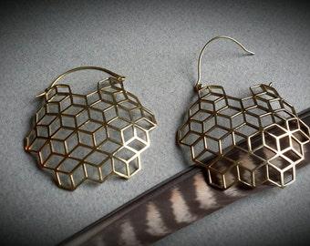 brass earrings *cubes*