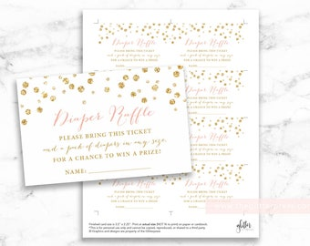 Glitter Confetti Diaper Raffle printable tickets, digital file, baby boy girl shower, gold and blush pink tags, INSTANT DOWNLOAD, 008