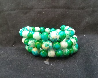 Green Beaded Memory Wire Bracelet, Ready to Ship, Women's Green Beaded Bracelet, 3 Tier Beaded Bracelet