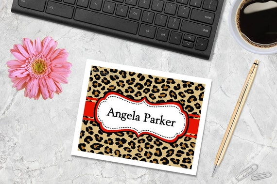 Leopard Print Note Cards - Leopard Print - Cheetah Print Note Cards - Personalized Stationery - Notecards - Red - Thank You Note Cards
