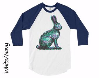 Rabbit Raglan Unisex Raglan Shirt Mens Clothing Shirts Womens Clothing Rabbit T-shirt  Cotton T-shirt Girls Tshirt Teens Raglan Tshirt