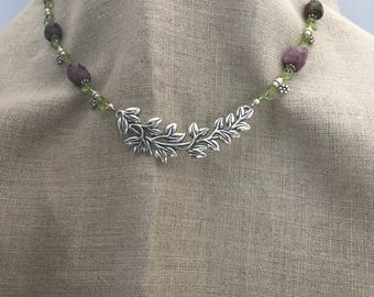 """necklace """"Fairy Bough"""" Sterling Vine pendant, Peridot necklace, Pink Tourmaline, Gift for Her, Mother's Day, Wedding Jewelry, Reiki charged"""