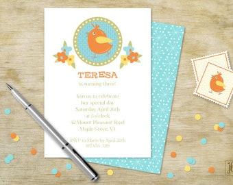 Birdy Birthday Invitation | Birdy and Flowers | Printable Invitation | Digital Invitation | Printable .PDF
