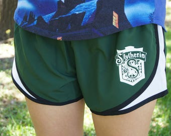 Slytherin Crest Shorts - Gym, Work Out, Running, Exercise, Athletic Clothing
