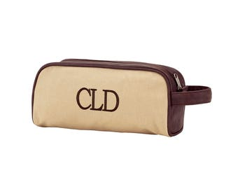 Monogrammed Khaki Travel Bag - Toiletry Bag-  Dawson Collection - See Other Listing For Coordinating Men's Duffle Bag in Collection ~