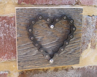 Bicycle chain heart on oak - STAINED