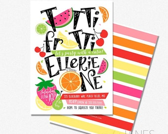 "Tutti Frutti Birthday Invitation | 1st Birthday Invite | Two-tti Frutti Invitation | Fruit Birthday Invite - 5X7 with *bonus reverse side"""