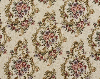 Green Blue And Burgundy Floral Tapestry Upholstery Fabric By The Yard | Pattern # F644