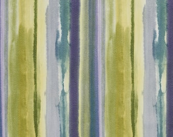 Purple and Green Water Paint Stipes Cotton Print Upholstery Fabric By The Yard | Pattern # B0307A