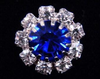 Style # 14062 Medium Rhinestone Rosette Button - Sapphire Center