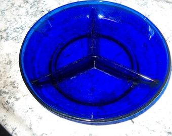 Vintage Cobalt Glass Divided Dish