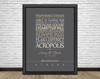 Athens, Travel Print, Athens Sightseeing, Famous Places, Travel Destinations, Vacation, Honeymoon, City Prints, Gift for Couples, Art Print