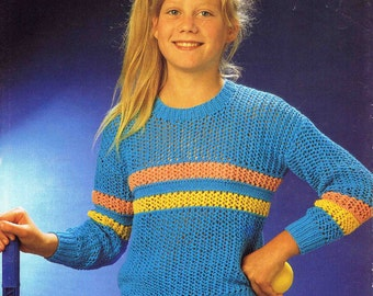 Girl's Round Neck Sweater Pullover Jumper - Size 61 to 76 cm (24 to 30 inch) - Sirdar DK 4491 - Vintage Retro Knitting Pattern