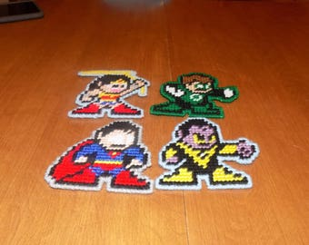 a set 4 superhero 8 bit wall hangings