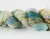"Hand dyed yarn,  80 / 10 / 10%  MCN, fingering weight, 400 yards, 'Ann Linnea"""