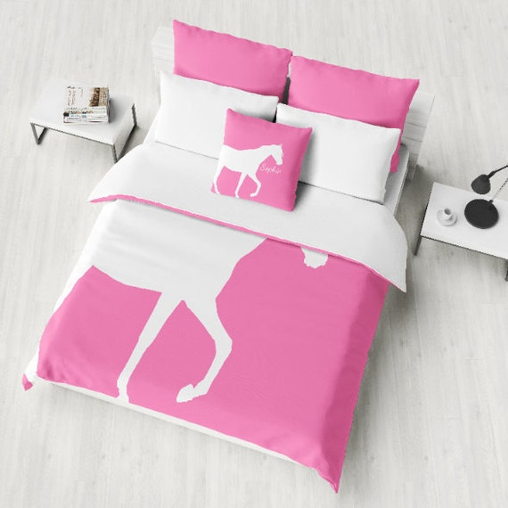 Teal Horse Twin Size Bedding