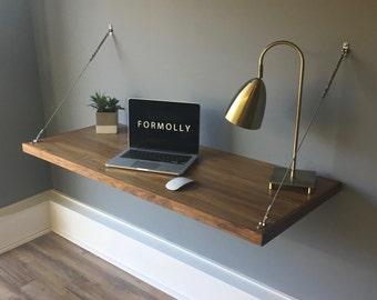 Floating Computer Desk floating desk wall mounted desk walnut