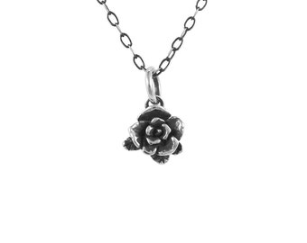 Small Mini Rose Necklace, Rose Necklace, Delicate Necklace, Sterling Silver Necklace, Handmade