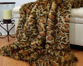 "Faux Fur Leopard Blanket Throw, Eye Lash Faux Leopard, Faux Fur Blanket, Faux Leopard Fur Throw, Fur Bedding 60"" x 72"""