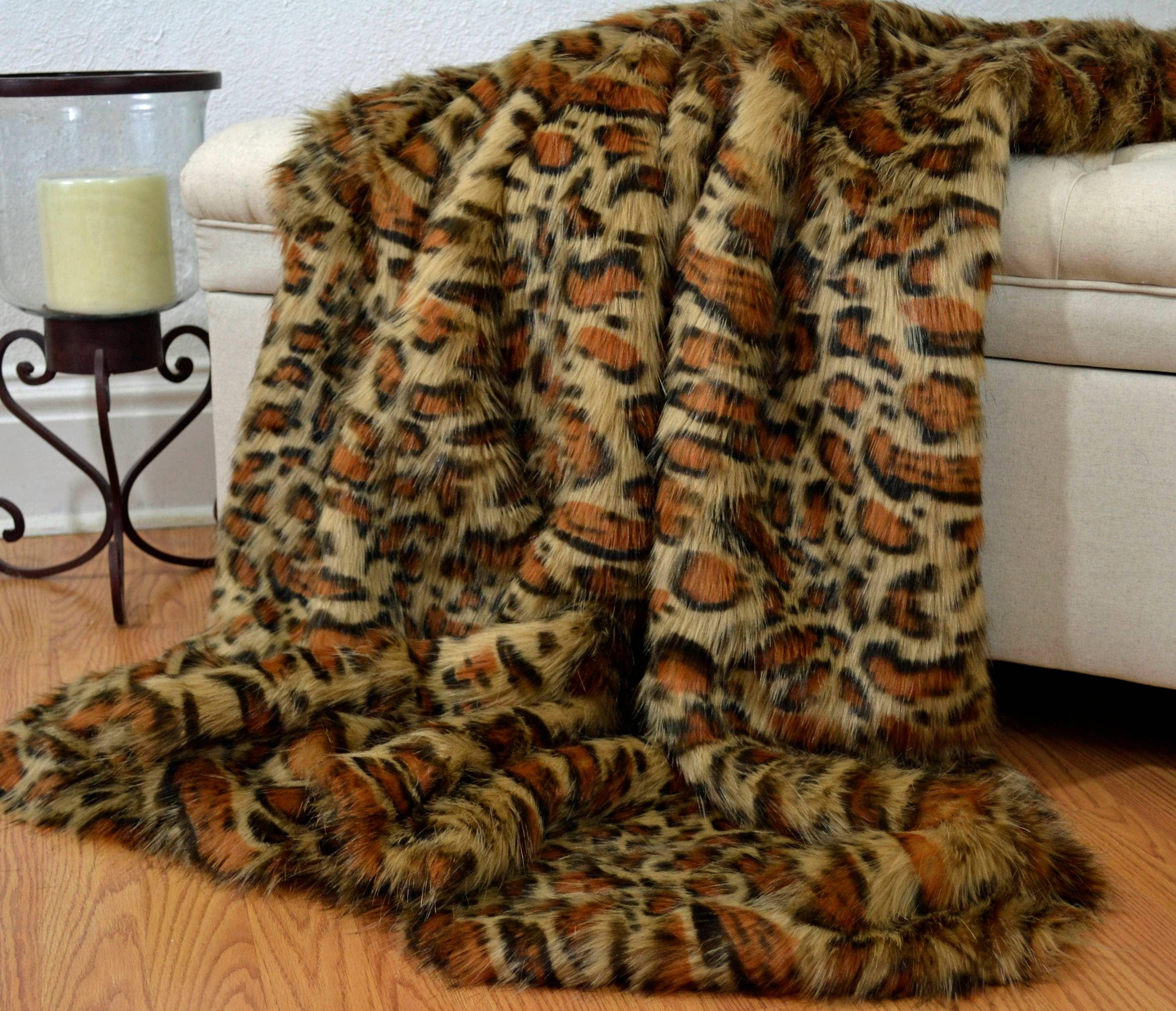 Faux Fur Leopard Blanket Throw Eye Lash Faux Leopard Faux