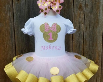Pink and Gold Minnie Mouse Birthday Outfit, Gold Minnie Mouse, Pink Minnie Mouse Dress, Minnie Mouse Tutu Set, Minnie Mouse Tutu Outfit