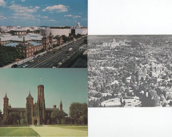 Smithsonian Castle, 3 Unused Postcards, Washington, DC, c1980s, good shape