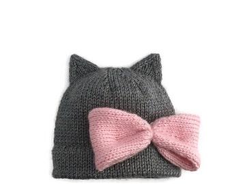 Knit kitty hat, Kitty hat, Knit cat hat, Cat hat, Knit bow hat, Hat with bow, Girly hat, Kitty cat hat, Kitty costume, Cat costume, Girly