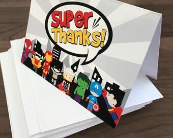 PRINTED superhero thank you cards, digital or printed, shipped with envelopes, superhero thank you card, super hero card, thank you cards