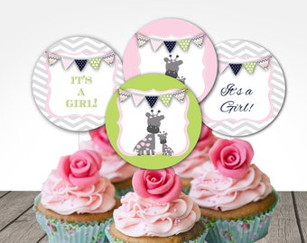 giraffe cupcake toppers, giraffe baby shower cupcakes, giraffe shower pink green toppers, instant download at purchase, 2 inch design tags
