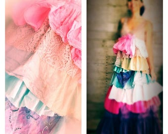 Pink Sunshine Shabby sherbet n lace rainbow watercolor art layered lace prairie gypsy floral ruffle rustic Boho maxi dress