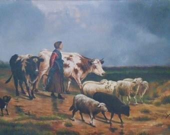 19c Antique Oil Painting Pastoral Cows Sheep Dog Woman Landscape Animals Farm