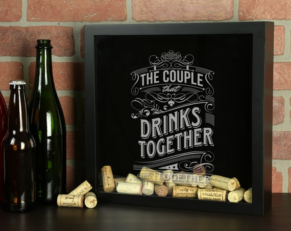 Personalized beer cap shadow box drink together stay for Craft beer typography beer cap shadow box beer cap collector