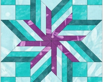 Wrapped Star 10 Inch Paper Template Quilting Block Pattern PDF