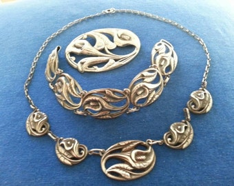 Vintage Danecraft Sterling Parure, Calla Lily Necklace, Brooch and Bracelet