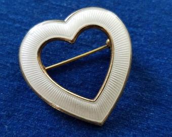 Vintage Aksel Holmsen Sterling Guilloche Heart Brooch Pin, White Enamel Heart Pin