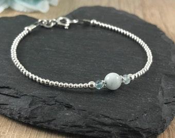 Aquamarine Bracelet, March Birthstone, Dainty, Thin, Sterling Silver, Birthstone Bracelet